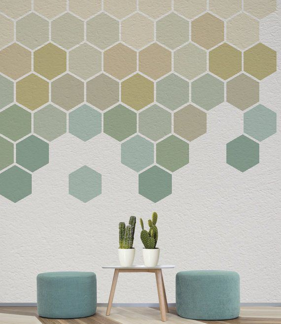Ombre Honeycomb Wall Decal 12 Removable Geometric Stickers Geometric Wall Art Wall Paint Designs Geometric Wall