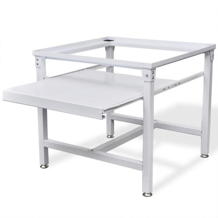 vidaXL Pidestall for vaskemaskin med utrekkbar skuff Hvit - Hus & Hage