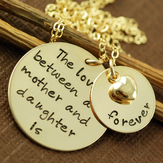 mother's day 10% off coupon code mother  HAND STAMPED NECKLACE - MOTHER & DAUGHTER JEWELRY - PERSONALIZED JEWELRY - 14KGOLD-FILLED HAND STAMP  $138.00