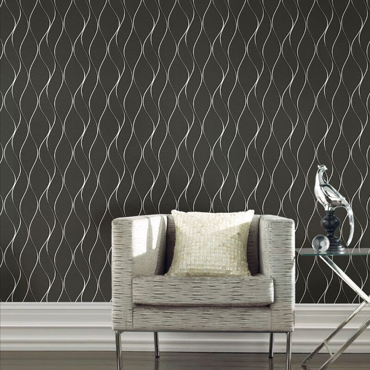 Geometric Wave Black Metallic Wallpaper from Muriva - http://godecorating.co.uk/geometric-wave-black-metallic-wallpaper-muriva/