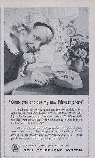 1960 Bell Telephone System Ad Princess Phone Girl Photo Vintage Technology Advertisement Print Wall Art Decor