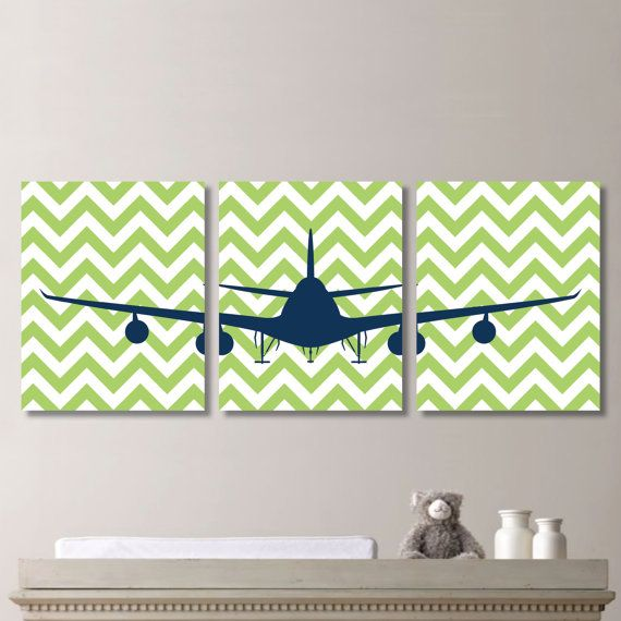 Airplane Aviation Chevron Print Trio Home by RhondavousDesigns2