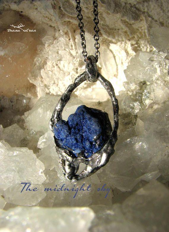 Raw azurite pendant azurite amulet Midnight sky
