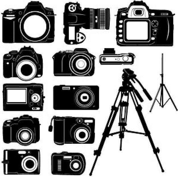 preto e branco da câmera digital material vector silhouette