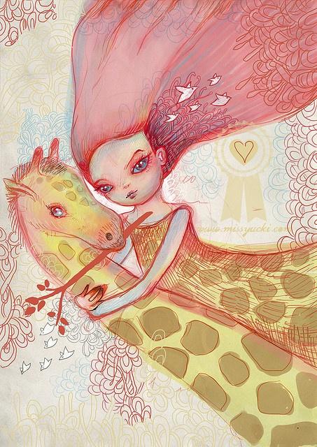 cute girl & her giraffe created by Kat Cameron for missyucki