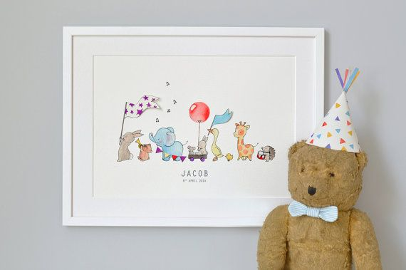 Animals on Parade, Nursery Art Picture, Giclée Print, baby's bedroom Illustration, New baby, Children's decor, Can be personalised