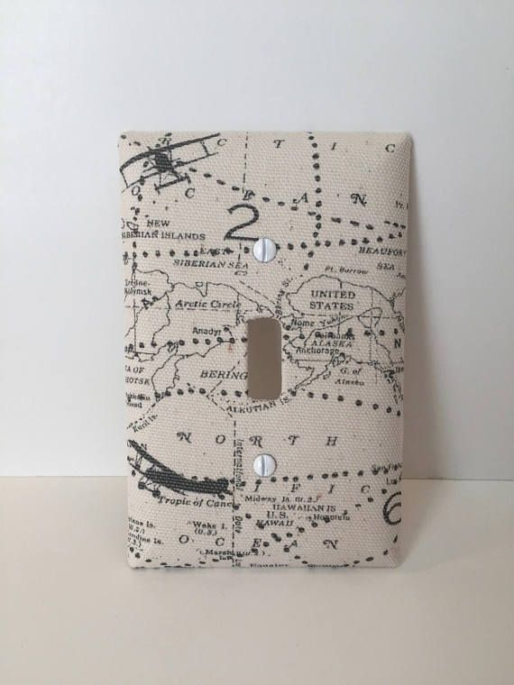 Vintage Flight Pattern Airplane Fabric Covered Light Switch
