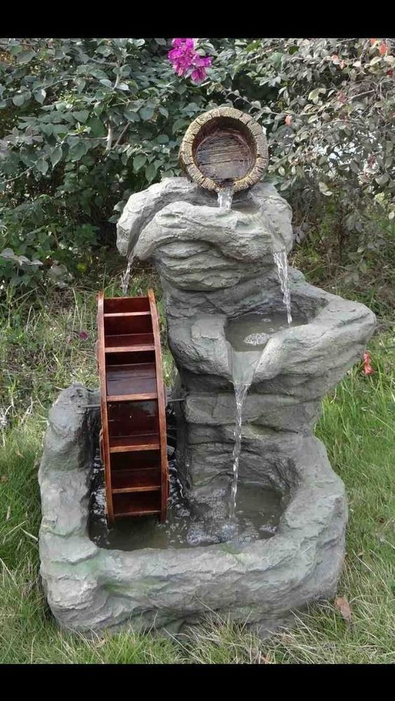 3 Tier Rock Patio Water Wheel Fountain Patio Outdoor Garden Decor Lighted