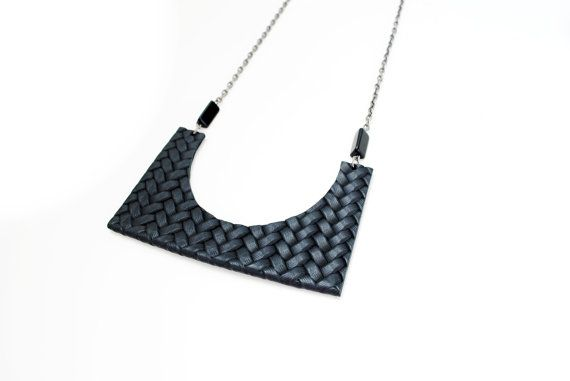 Geometric black leather necklace statement by elfinadesign on Etsy