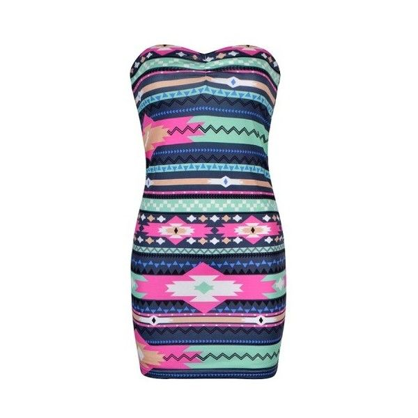 AZTEC PRINT BOOBTUBE DRESS ($20) ❤ liked on Polyvore featuring dresses, aztec, vestidos, aztec print dress, aztec pattern dress, blue aztec dress, aztec dress and blue dress