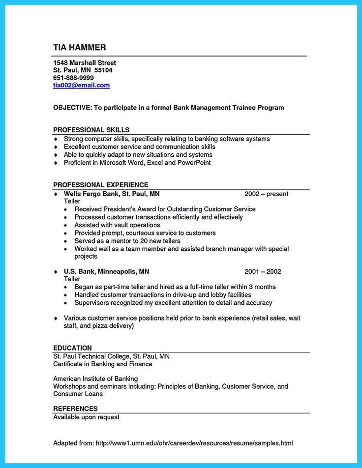 11 best Work images on Pinterest - resume example for bank teller