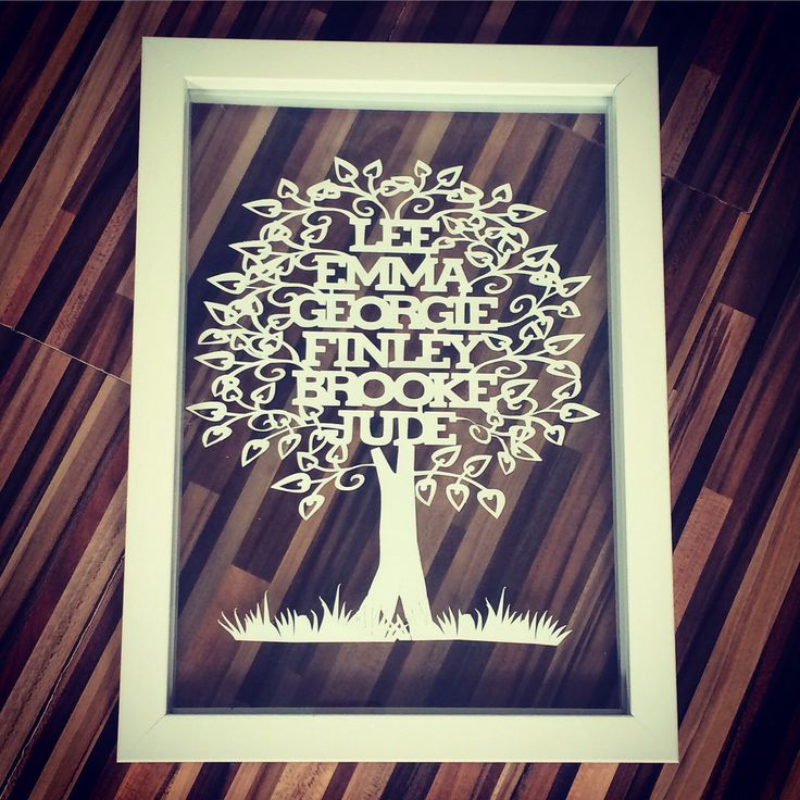 A personal favorite from my Etsy shop https://www.etsy.com/uk/listing/237386776/family-tree-paper-cut-paper-cut