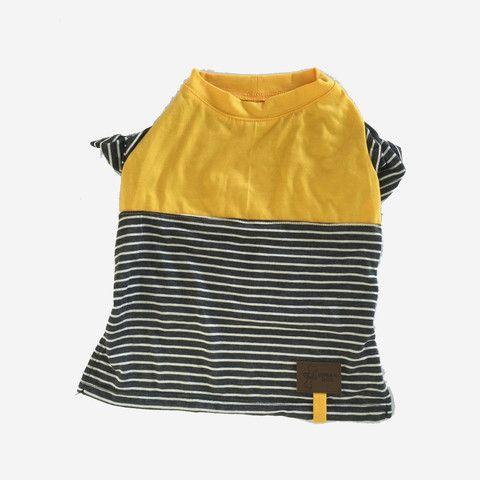 Camiseta Ligera para Perros en Amarillo con Rallas 100% Algodón - Ropa para Perros