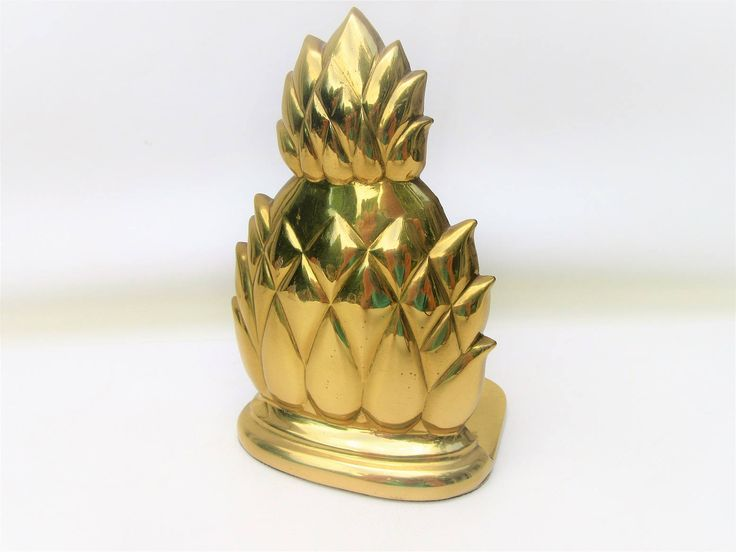 Vintage Brass Pineapple Bookend | Solid Brass Pineapple | Doorstop by WhimzyThyme on Etsy