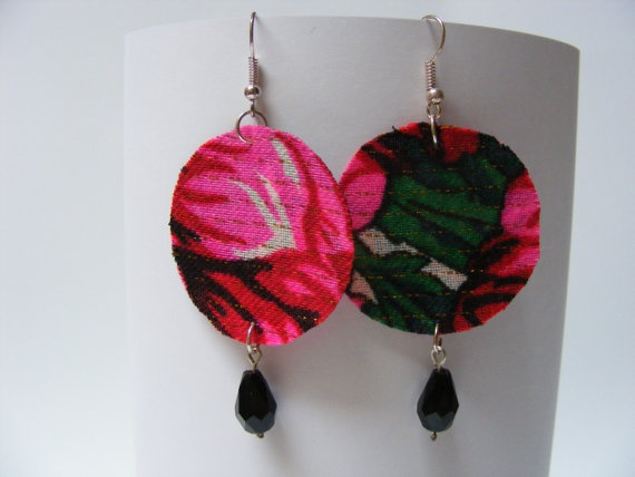 Fabric Circle Earrings with Black Teardrop Bead - $20 - These handmade earrings feature pink, red, and green flower patterns. The circle is 4 cm in diameter and the earring is 6 cm long