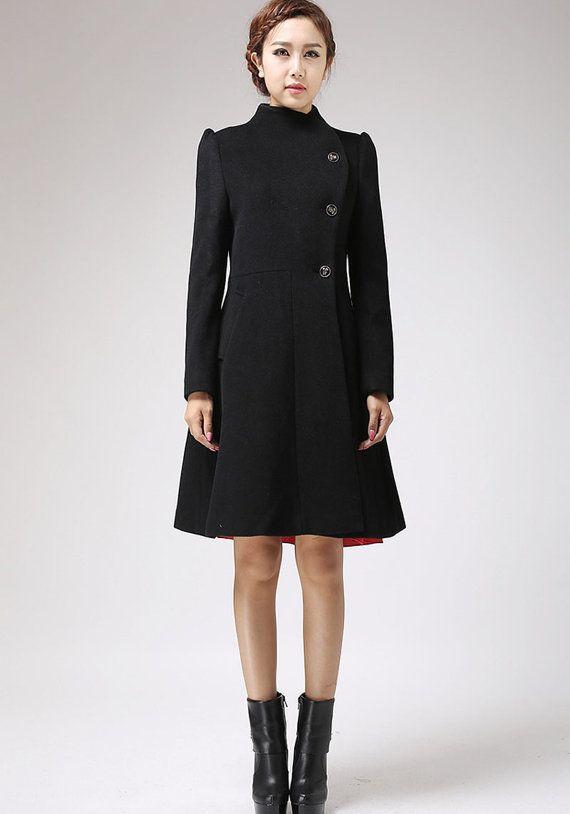 wool jacket,Black jacket, dress coat, Winter Coat, asymmetrical coat,asymmetrical jacket,Cashmere coat, black wool coat, Womens jackets 715