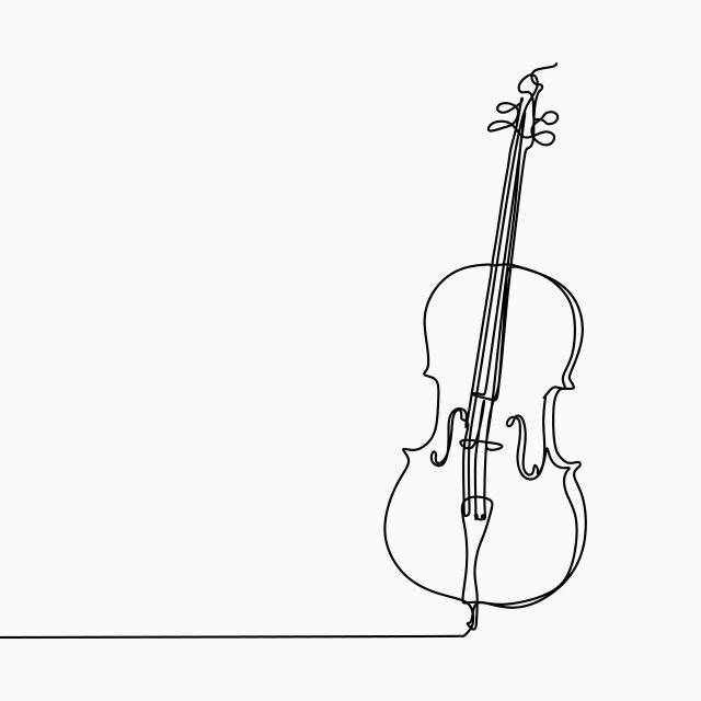 한 라인 아트 드로잉 무료 로고 디자인 서식 파일 첼로 벡터 삽화 그림 스케치 Png 및 벡터 에 대한 무료 다운로드 Linea De Arte Tatuaje De Cello Dibujos De Lineas Simples