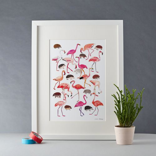 Alice in Wonderland print flamingos and hedgehogs playing croquet.
