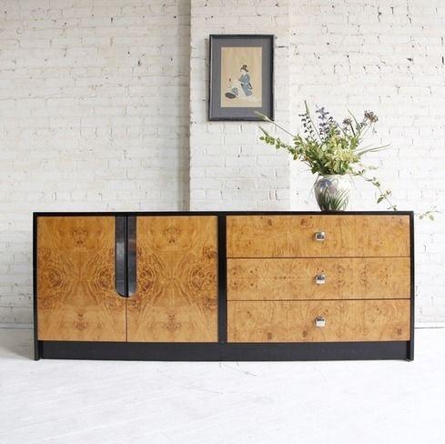 Midcentury modern Milo Baughman burl wood credenza | Inspiration