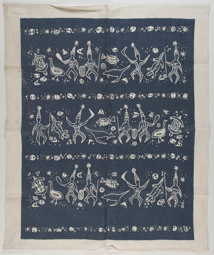 Tea Towel - Human Figures & Animals, circa 1950s - Museum Victoria. John Rodriquez.