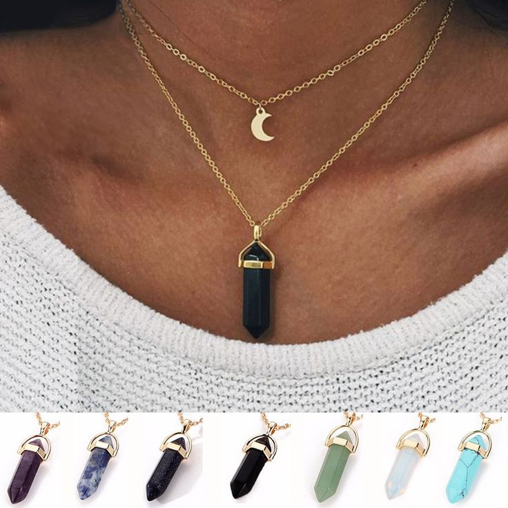 2017 Fashion unicorn Multi Color Natural Stone Quartz Pendants maxi Necklace For women New Lovers Gift brincos charms Jewelry