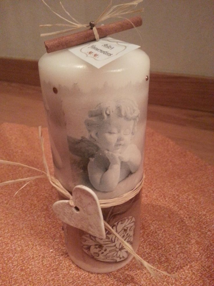 Decoupage - Candle - Angels