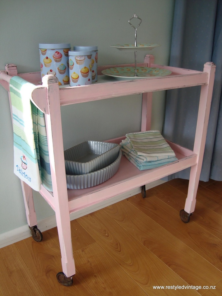 vintage tea trolley. I just bought a tea trolley and so I'm looking for inspiration to revamp it.