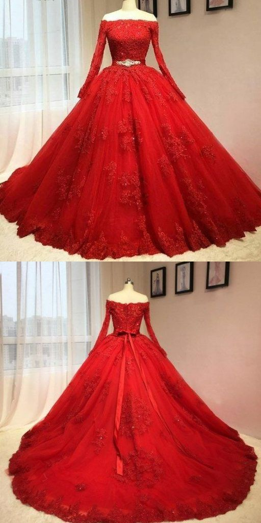4e276bf5b2ce Ball Gown Off Shoulder Long Sleeves Red Lace Wedding Dress - Thumbnail 3