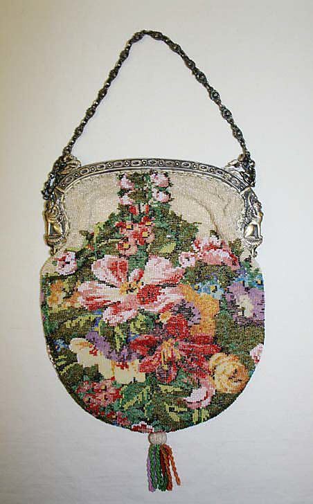 Womens Purses  : Beaded bag w/ silver mount and chain probably French late 19th C.