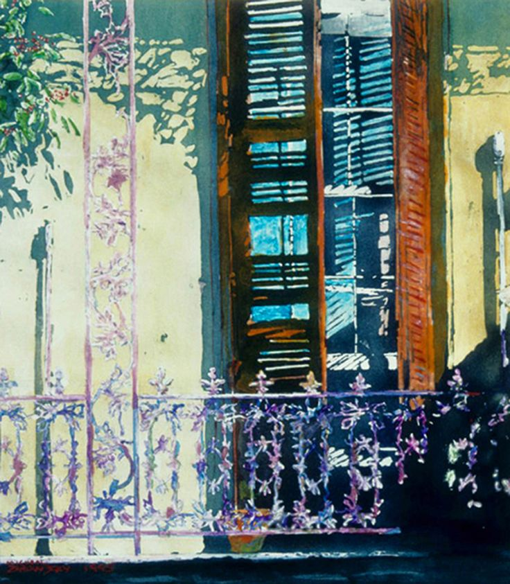 "broken shutters balcony n awlins 22"" x 20""  micheal zarowsky - watercolour on arches paper available 950.00 (unfr)"