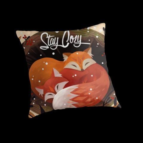 « Stay Cozy », Coussins par Julia Blattman | Redbubble