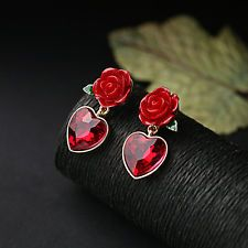 18K Gold Plated Red Crystal Love Heart with Rose Flower Women's Earrings Jewelry