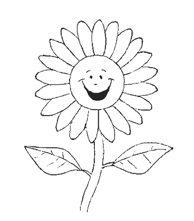 outline pictures flowers coloring pages for kids | Sunflower Smile Coloring Page | Sunflower coloring pages, Flower coloring pages, Coloring pages