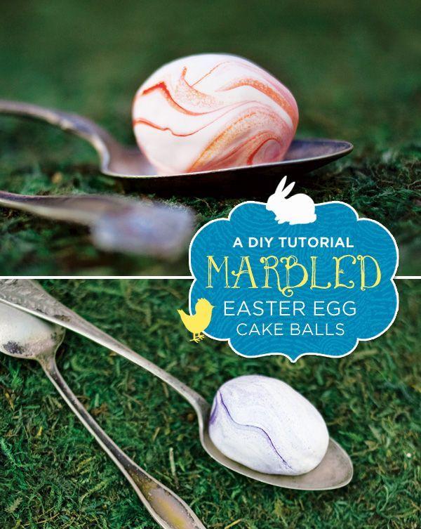 DIY Tutorial: Marbled Easter Egg Cake Balls, #Balls, #Cake, #Easter, #Egg