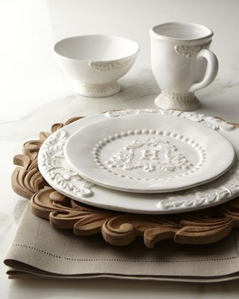 """Heirloom"" Monogrammed Salad Plates & Charger Plates by GG Collection at Neiman Marcus."