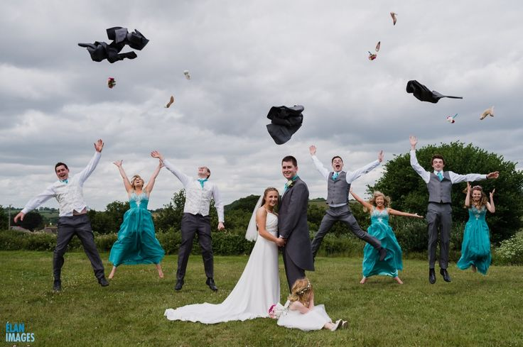 Wedding Photos Sneak Peak - Jess & Oli's wedding at the Exeter Court Hotel, Kennford. Bridal party jumping in the air!