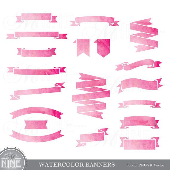 Pink Watercolor RIBBON BANNERS Clipart / Watercolor Clip ...