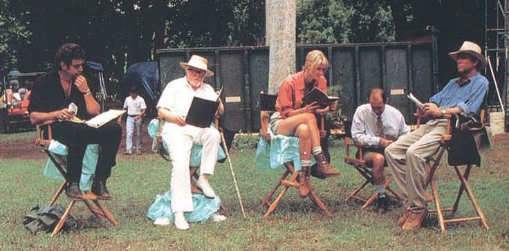 Jeff Goldblum, Richard Attenborough, Laura Dern, Martin Ferrero and Sam Neill on the set of Jurassic Park.