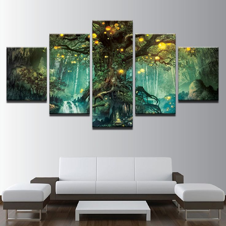 Günstige Leinwand Wandkunst Bilder Rahmen Wohnzimmer 5 Stücke Enchanted  Baum Landschaft Gemälde Home Decor HD Gedruckt Magie Wald Poster, Kaufe  Qualität ...