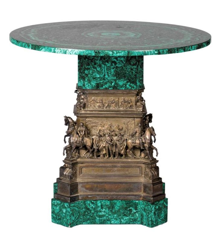 A malachite table, the pedestal decorated with a depiction of various confidants of King Frederick the Great, based on the equestrian statue of Frederick the Great - Unter den Linden - Berlin, H 72,2 - ø 80,7 cm