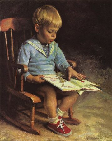 Emmanuel Garant - 'Enfant Lisant' (Child Reading) This little boy looks just like my son did at this age.