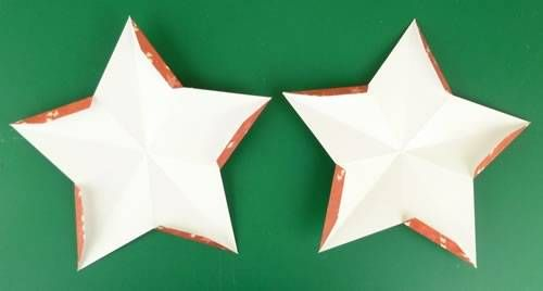 making double sided 3d star christmas decorations - refold tabs