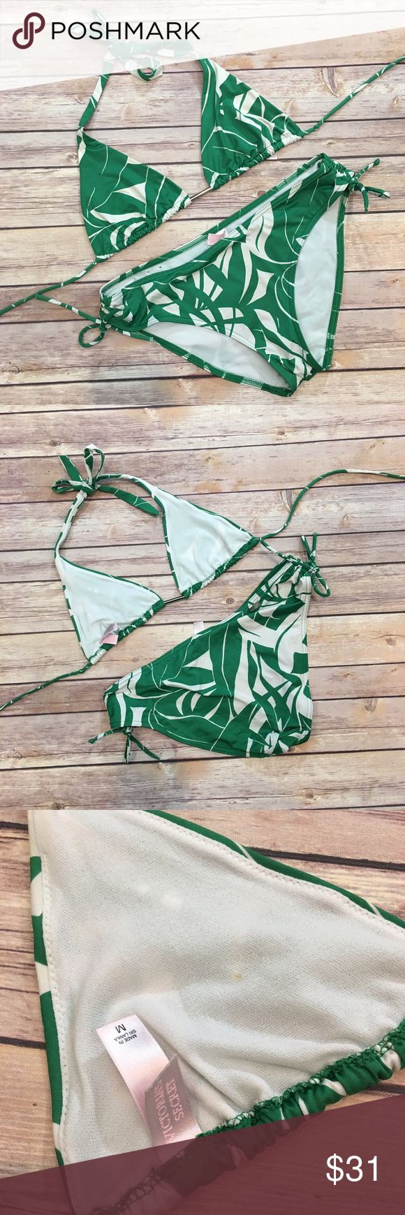 Victoria's Secret Green &a Cream Bikini Set Victoria's Secret green and cream Bikini Set. Both top and bottom size medium. EUC. Please carefully review each photo before purchase as they are the best descriptors of the item. Victoria's Secret Swim Bikinis