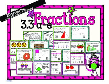 Use technology to practice solving fraction related problems based on TEKS 3.3a-e.Students will need a mobile device with a QR code reader such as a tablet, iPad, iPhone, etc.I-nigma is the best QR scanning app out there!This activity includes 20 word problem task cards, four up student response sheets, and an answer key.This is great for a station or extra practice for early finishers!