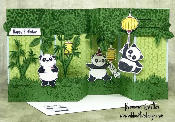 Festive Friday Challenge - National Panda Day, addinktive designs, Party Pandas, Stampin' Up! ®, #festivefridaychallenge Bronwyn Eastley, SAB 2018, Fun Interactive Card Fold, My Tutorials