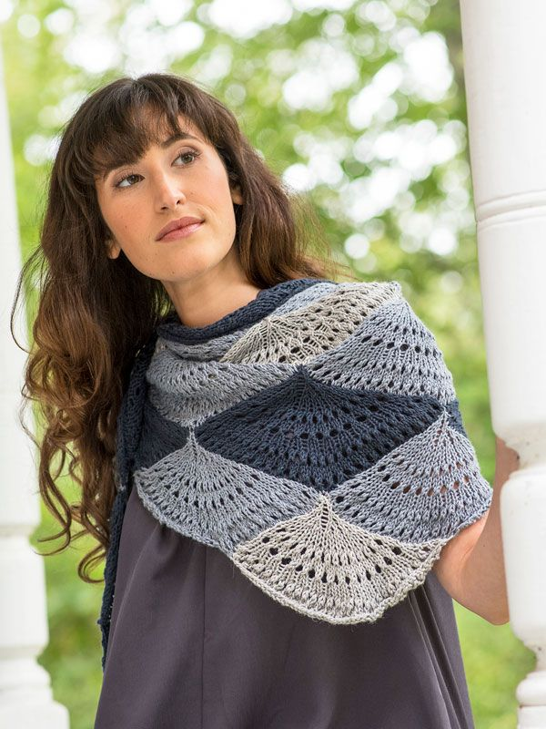 "The Ostro Shawl is knit in three shades of Berroco Fiora® using a modular construction. Each ""shell"" is knit individually, but the following shells are attached as you go, so there is minimal finishing."