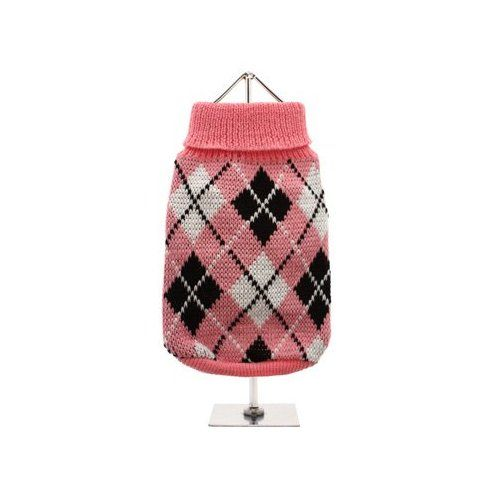 """UrbanPup Pink & Black Argyle Knitted Sweater (Small - Dog Body Length: 10"""" / 25cm)"""
