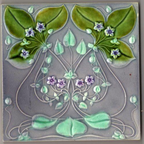 Antique Art Nouveau Moulded Ceramic Tile by Gilliot Freres, Hemixem, Belgium