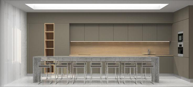 Modern corporate kitchen in minimalism style, monolithic concrete dining table, bar table / AKHUNOV ARCHITECTS Interior Design Studio / Современная корпоративная кухня в стиле минимализм, монолитный бетонный обеденный стол, барный стол. Дизайн интерьерьера в Перми и не только.