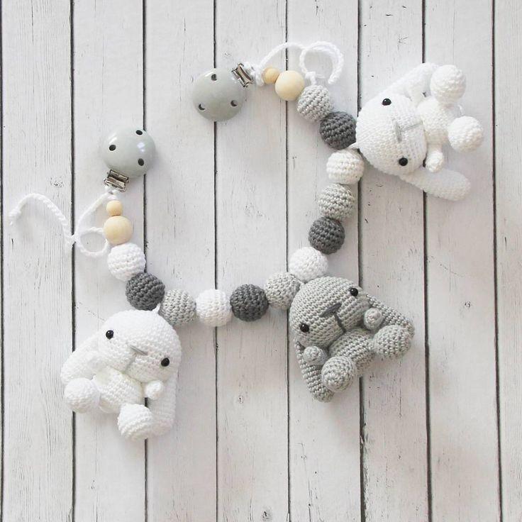 """118 Likes, 5 Comments - Tanja Greiff crochet studio (@madebytanya) on Instagram: """"En barnvagnsmobil på beställning är klar 🐰🐰🐰 #madebytanya #amigurumi #barnvagnsmobil…"""""""